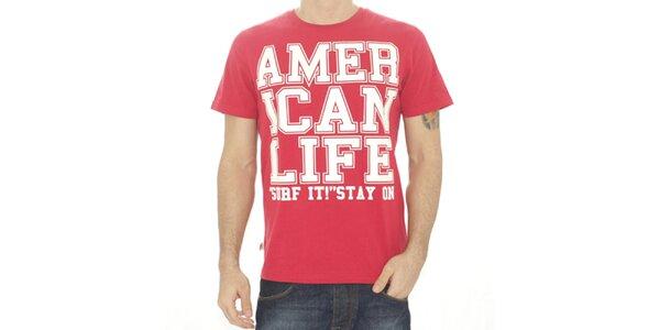 Pánske červené tričko s nápisom American Life