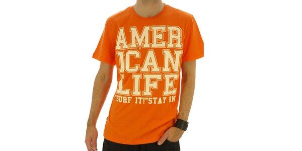 Pánske oranžové tričko s nápisom American Life
