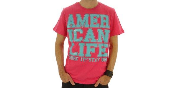 Pánske ružové tričko s nápisom American Life