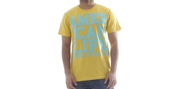 Pánske svetlo žlté tričko s nápisom American Life