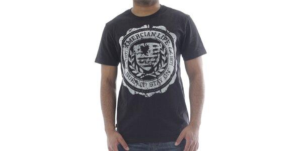 Pánske čierne tričko s potlačou American Life