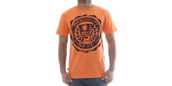 Pánske oranžové tričko s potlačou American Life
