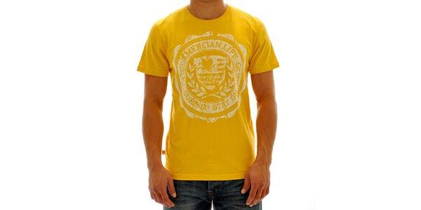 Pánske žlté tričko s potlačou American Life