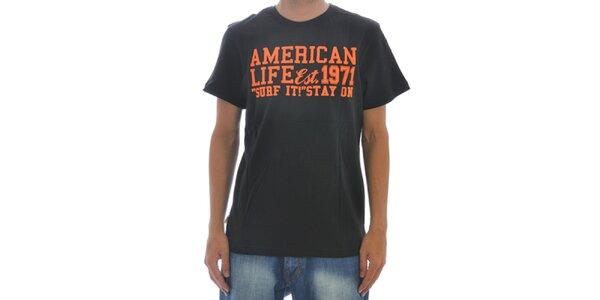 Pánske čierne tričko American Life s nápisom na hrudi