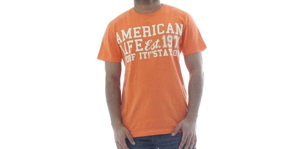 05f3830146b9 Pánske oranžové tričko American Life s nápisom na hrudi
