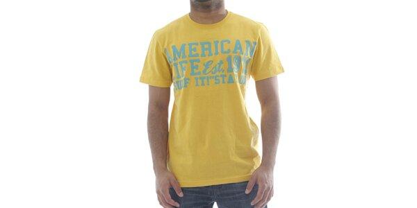 Pánske žlté tričko American Life s nápisom na hrudi