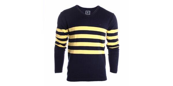 Pánsky čierny sveter s žltými pruhmi Pietro Filipi