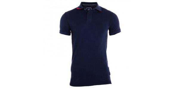 Pánske indigovo modré polo tričko s bielymi gombíkmi Pietro Filipi