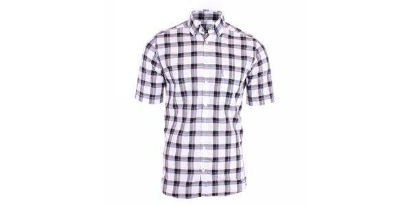 Pánska čiernobiela károvaná košeľa Pietro Filipi