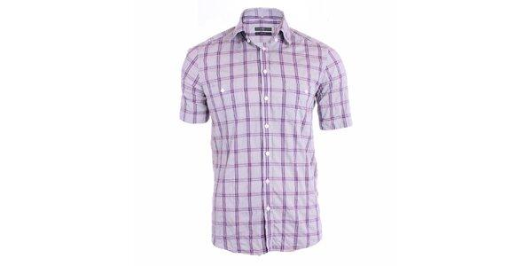 Pánska šedá košeľa s fialovými pruhmi Pietro Filipi