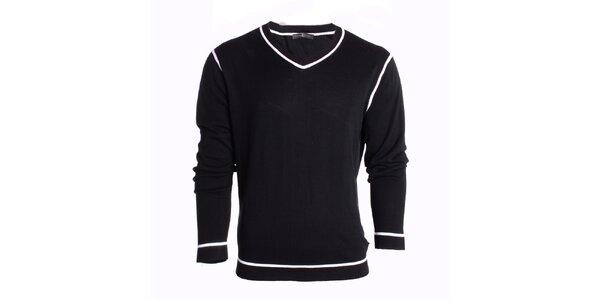 Pánsky čierny sveter s bielymi linkami Pietro Filipi