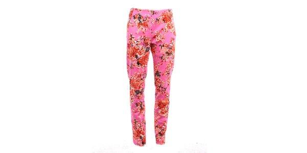 Dámske ružové kvetinové nohavice Pietro Filipi