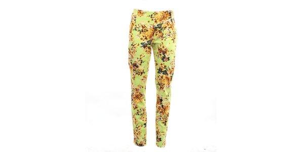 Dámske zelené kvetinové nohavice Pietro Filipi