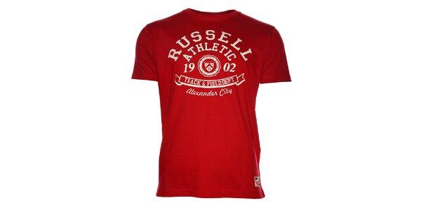 Pánske červené tričko Russell Athletic s potlačou