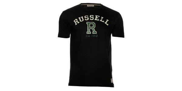 Pánske čierne tričko Russell Athletic s potlačou