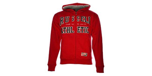 Pánska červená mikina Russell Athletic s kapucou