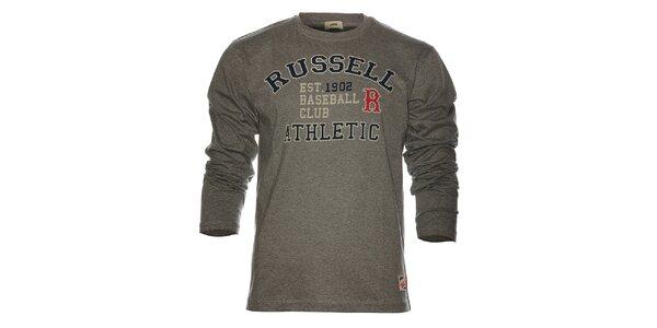 Pánske svetlo šedé melírované tričko Russell Athletic s potlačou