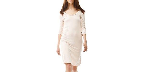 Dámske béžové šaty s 3/4 rukávom Yuliya Babich