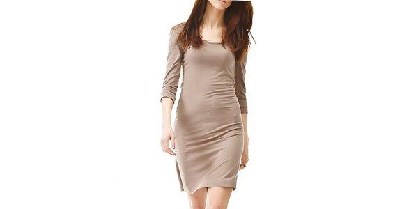 Dámske hnedo-béžové šaty s 3/4 rukávom Yuliya Babich