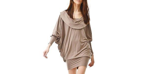 Dámske hnedo-béžové šaty s odhaleným chrbátom Yuliya Babich
