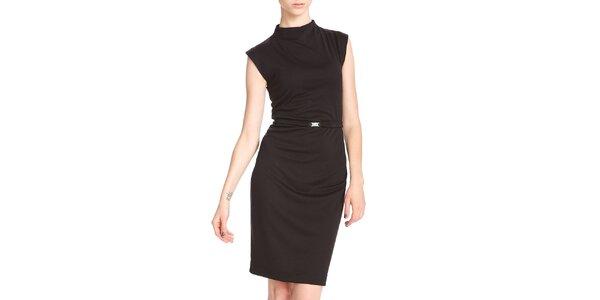 Dámske čierne púzdrové šaty so stojáčkom Yuliya Babich