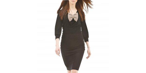 Dámske čierne šaty so slonovinovou mašľou Yuliya Babich