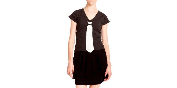 Dámske čierne tričko s kravatou Yuliya Babich