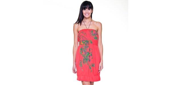 Dámske ružové šaty so zeleným vzorom Peace&Love