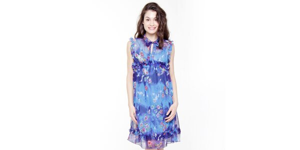 Dámske modré kvetinové šaty Peace&Love