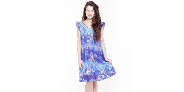 Dámske modré vzorované šatôčky Peace&Love