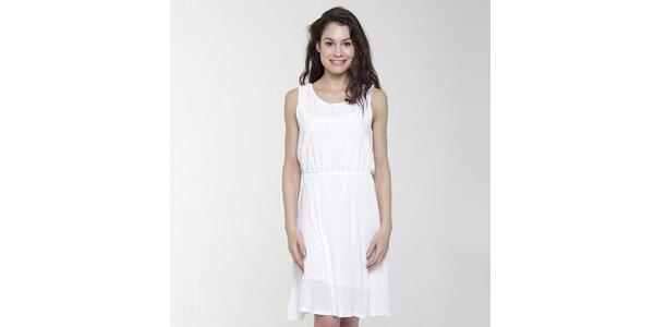 Dámske biele šaty s ozdobným perforovaním Peace & Love
