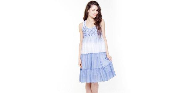 Dámske modro-biele šaty s volánmi Peace&Love