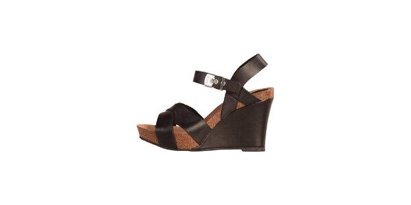 Dámske čierne kožené sandále na kline Dr. Scholl