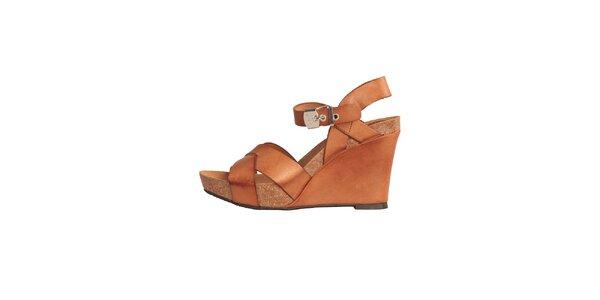 Dámske karamelovo hnedé kožené sandále na kline Dr. Scholl