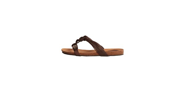 Dámske hnedé sandálky s vrkôčikmi Dr. Scholl