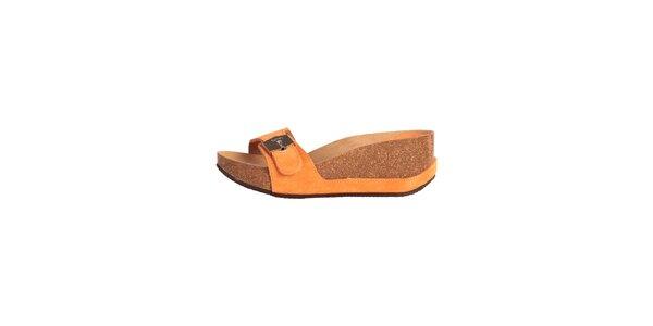 Dámske oranžové papučky so striebornou prackou Dr. Scholl