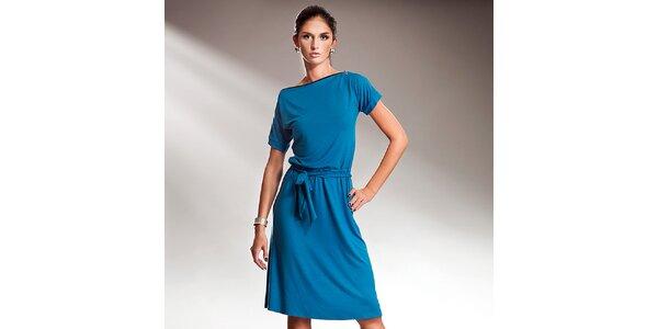 Dámske modré šaty s efektnou mašľou Nife