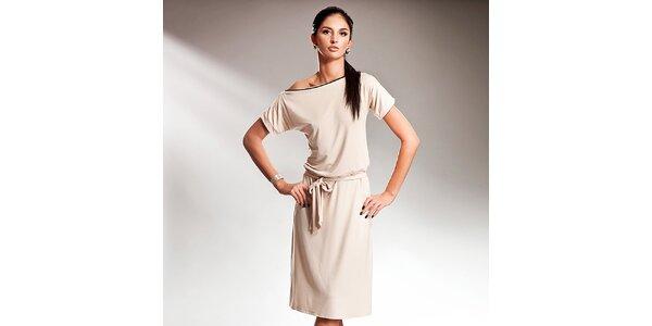 Dámske krémové šaty s efektnou mašľou Nife
