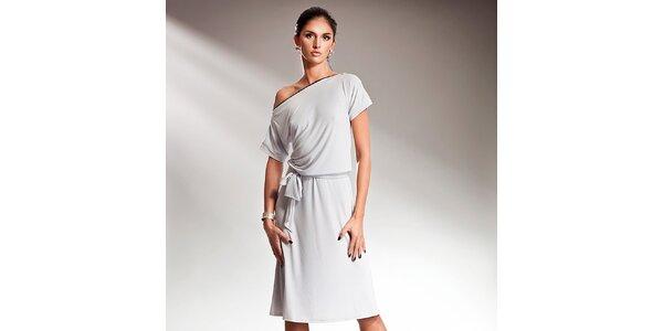 Dámske šedé šaty s efektnou mašľou Nife