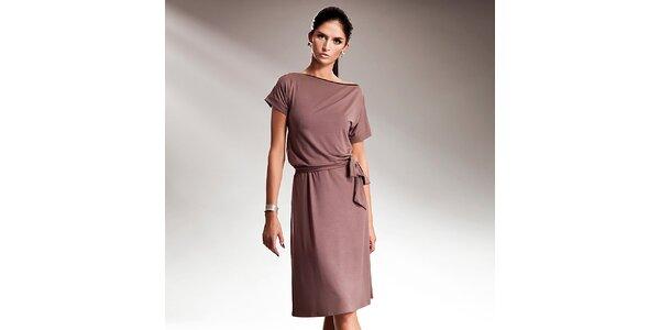 Dámske kávové šaty s efektnou mašľou Nife