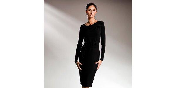 Dámske čierne šaty s dlhými rukávmi Nife