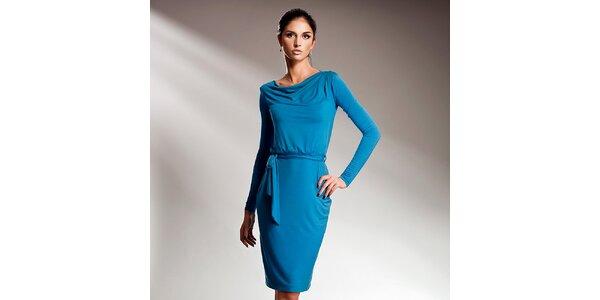 Dámske modré šaty s dlhými rukávmi Nife