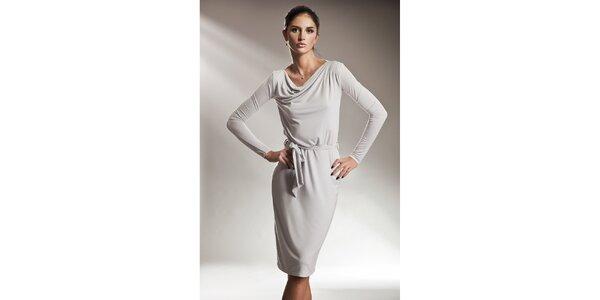 Dámske šedé šaty s dlhými rukávmi Nife