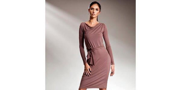 Dámske moka šaty s dlhými rukávmi Nife