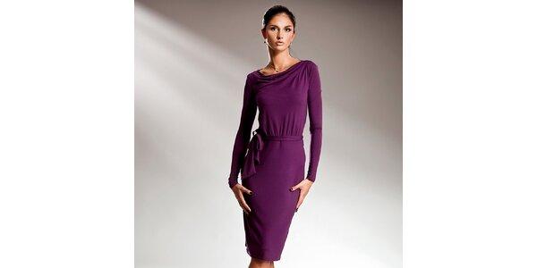 Dámske fialové šaty s dlhými rukávmi Nife