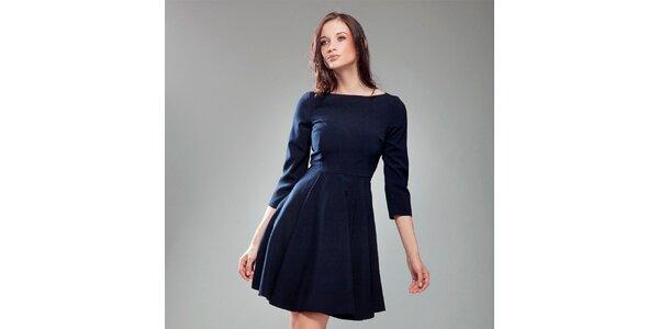 Dámske tmavo modré šaty s širokou sukňou Nife