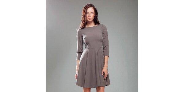 Dámske kávové šaty s širokou sukňou Nife