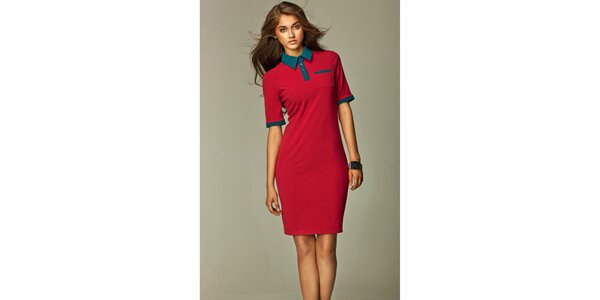 Dámske červené košeľové šaty so zelenými detailmi Nife