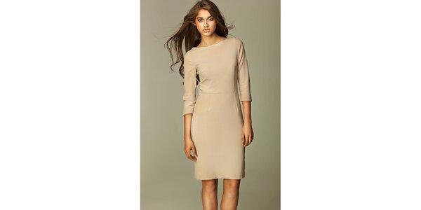 Dámske béžové business šaty Nife