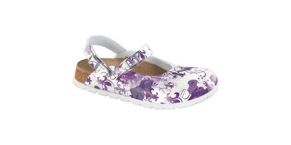 Dámske biele zdravotné šľapky s fialovou potlačou Alpro